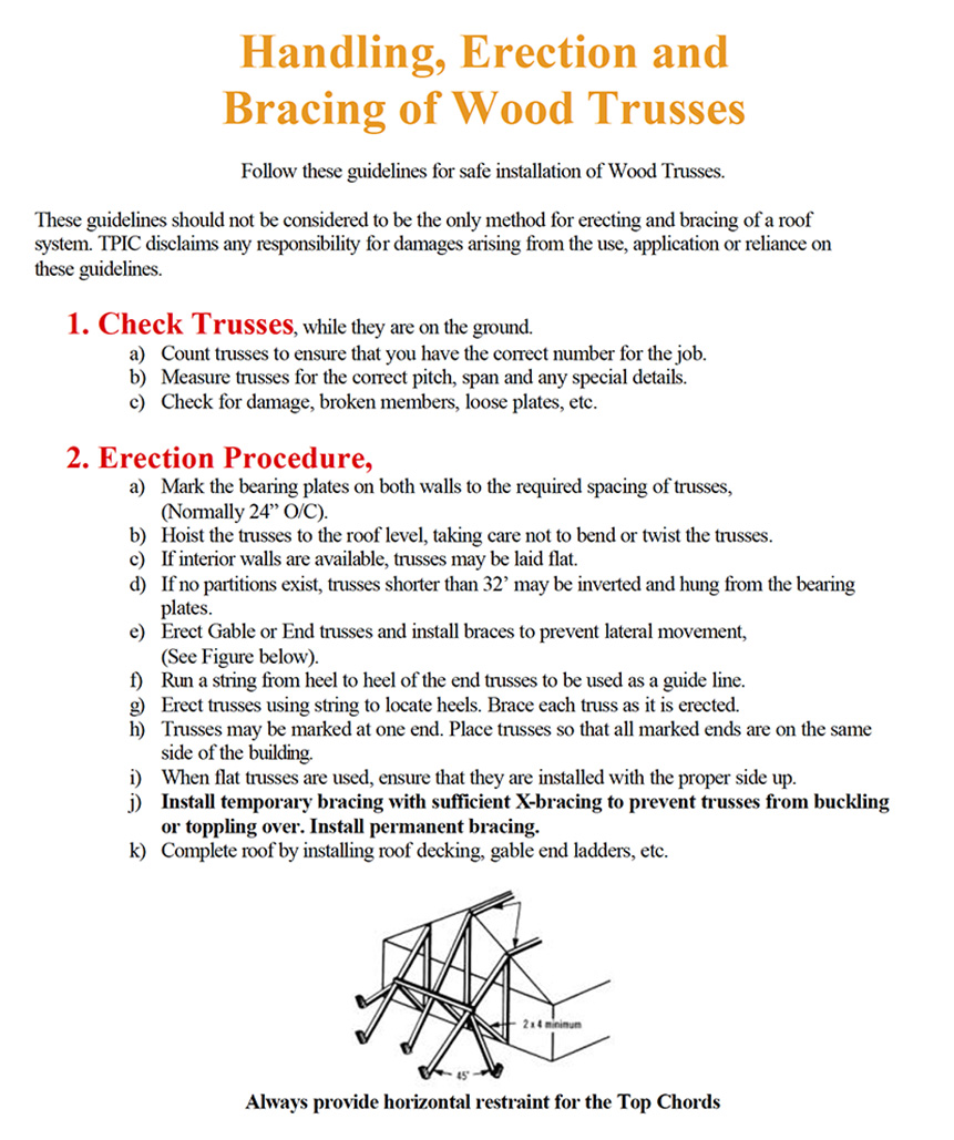 Resources - Handling, Erection and Bracing of Wood Trusses